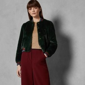 Ted Baker London AETHER Faux fur bomber jacket XS